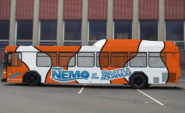 New York bus panel wrap advertising installation